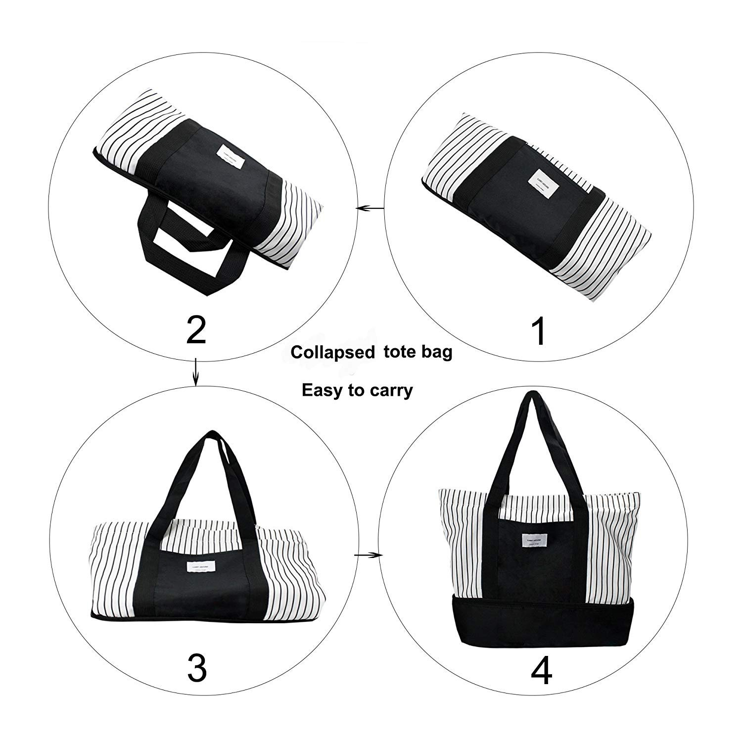 2-in-1 Large Insulated Cooler lunch Tote Bag Ladies Trendy Zippered Teacher Bag Utility Beach Tote Bag for Women by ExquisiteHome (Image #3)