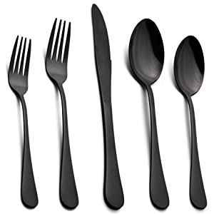 Black Flatware Silverware Set, LIANYU 40-Piece Stainless Steel Cutlery Set for 8, Restaurant Party Tableware Eating Utensils, Mirror Finish, Dishwasher Safe