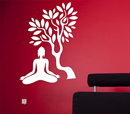 d98d28a45b9 Buy Asmi Collections Wall Stickers Meditating White God Buddha under a Tree  Online at Low Prices in India - Amazon.in