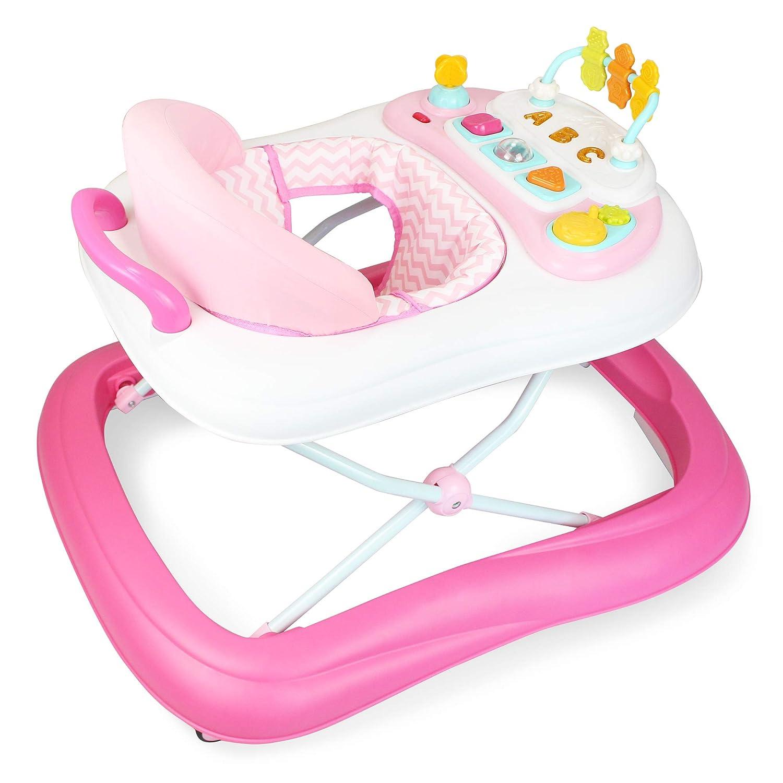 weich gepolsterter Sitz und R/ückenlehne Sotech Baby Lauflernhilfe mit R/ädern Blau Babywalker mit Melodie und Licht Gehfrei baby klappbar und tragbar