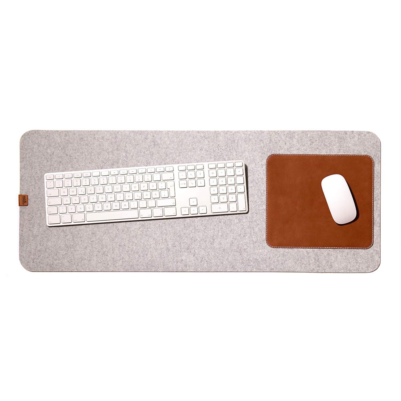 Anthrazit Pack /& Smooch Gro/ße Schreibtischunterlage Mouse Pad Matte 74x30cm aus Merino Filz und Natur-Leder f/ür Linksh/änder und Rechtsh/änder