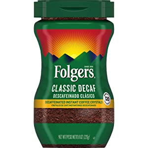 Folgers Classic Decaf Decaffeinated Instant Coffee Crystals, 8 Ounces