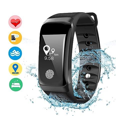 DAMIGRAM Montre Connecté Tracker dActivité, Bracelet Connectée Traqueur dActivité Podomètre Cardiofréquencemètre Etanche IP67 Smartwatch, Compatible ...