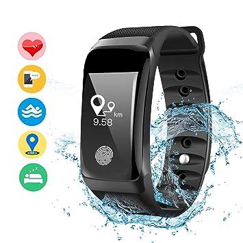 DAMIGRAM Montre Connecté Tracker dActivité, Bracelet Connectée Traqueur dActivité Podomètre Cardiofréquencemètre