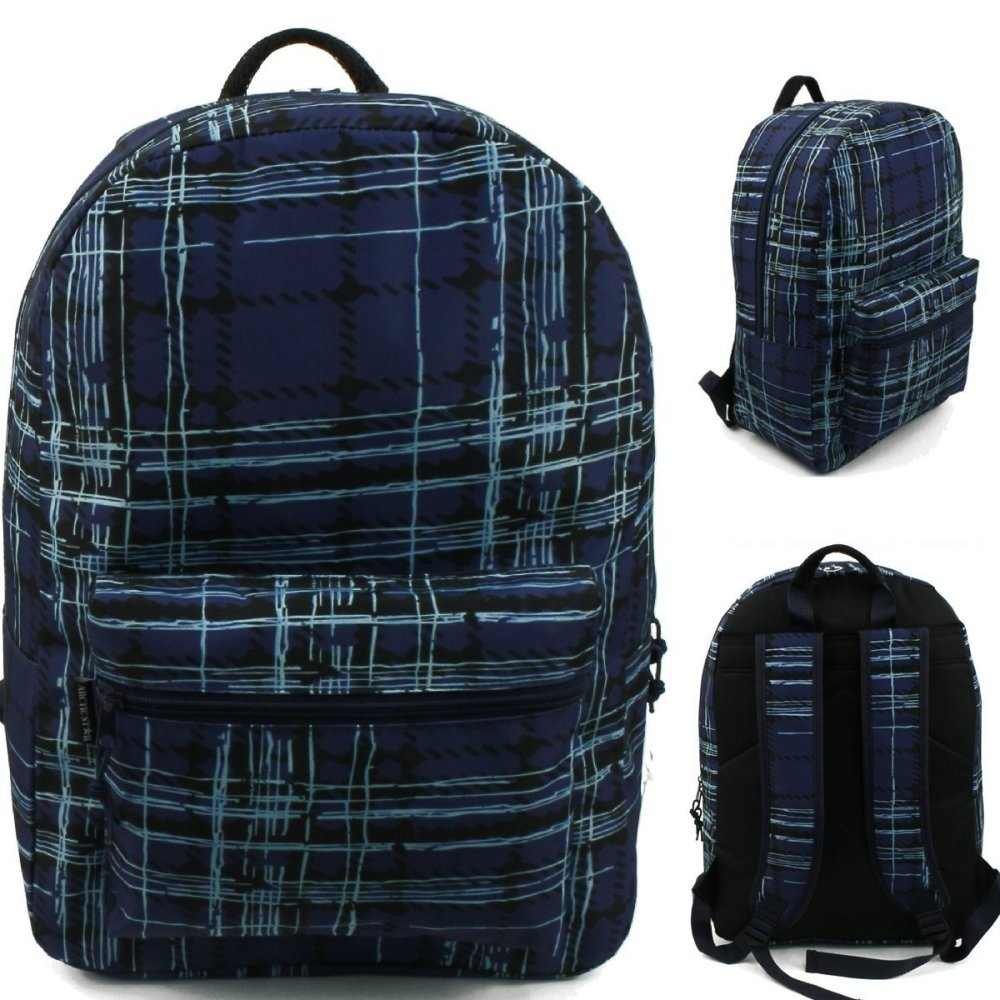 17'' Wholesale Padded Blue Plaid Backpack - Case of 24