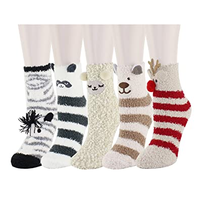 Women Girls Fun Fuzzy Socks Colorful Cute Animal Fluffy Slipper Socks 5 Pack at Women's Clothing store
