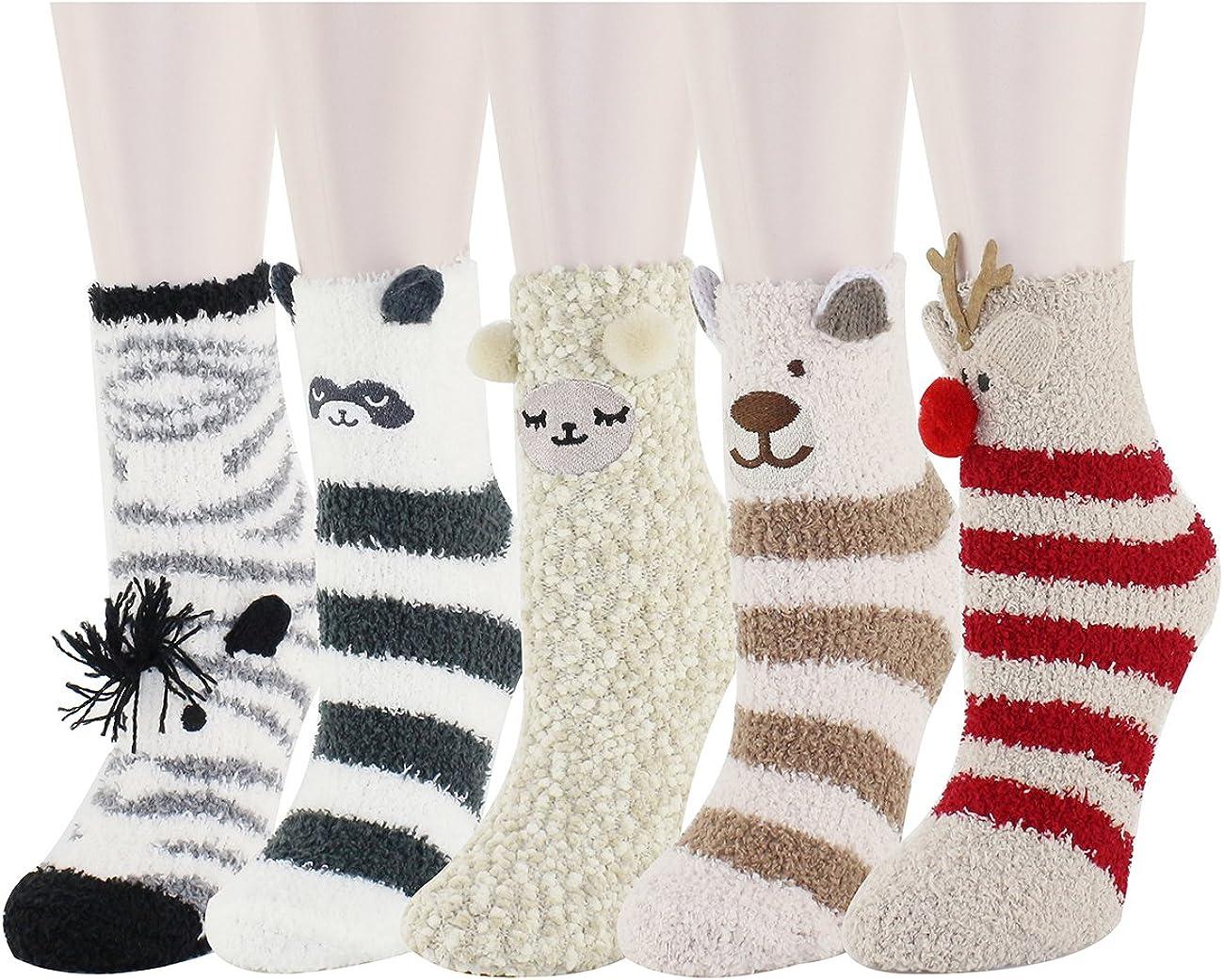 Zmart Fuzzy Socks for Women Girls Colorful Indoors Animal Slipper Socks