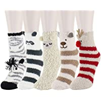 5 Pack Women Girls Colorful Indoors Fluffy Fuzzy Slipper Socks, 3D Cute Animals Winter Warm Crew Fuzzy Socks Value Pack