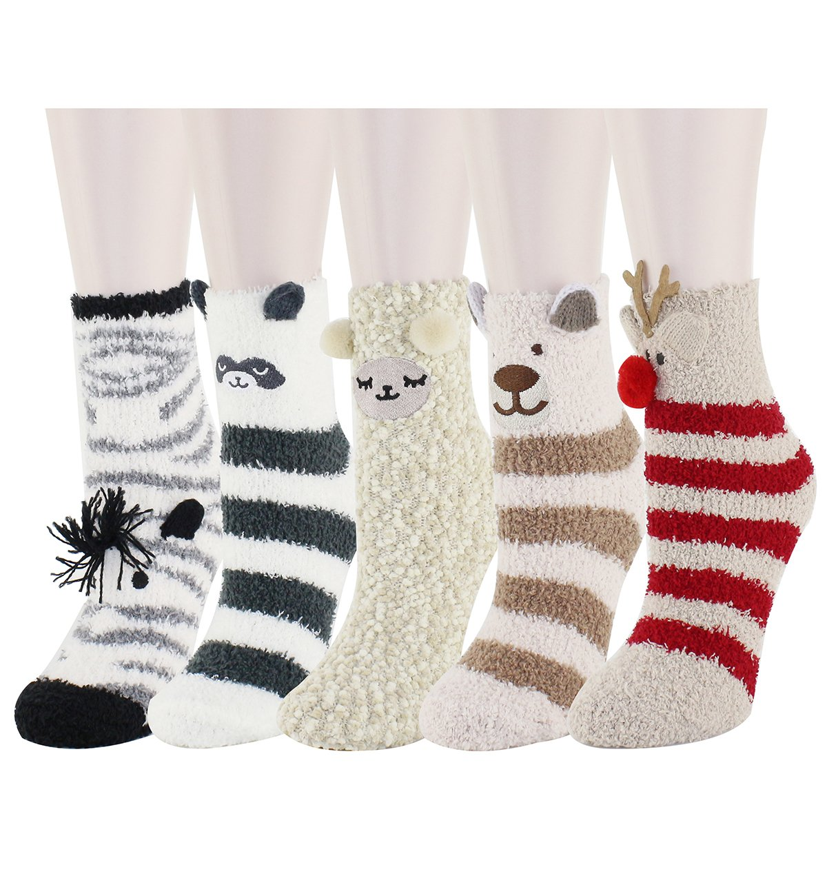 Women Girls Colorful Indoors Fluffy Fuzzy Cute Animal Christmas Slipper Socks by Zmart