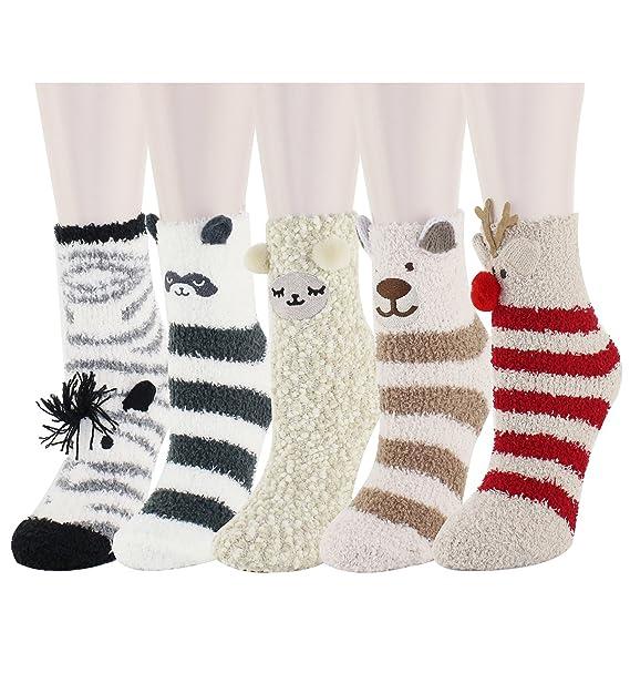 09296b51b1b Amazon.com  5 Pack Colorful Indoors Fluffy Fuzzy Slipper Socks