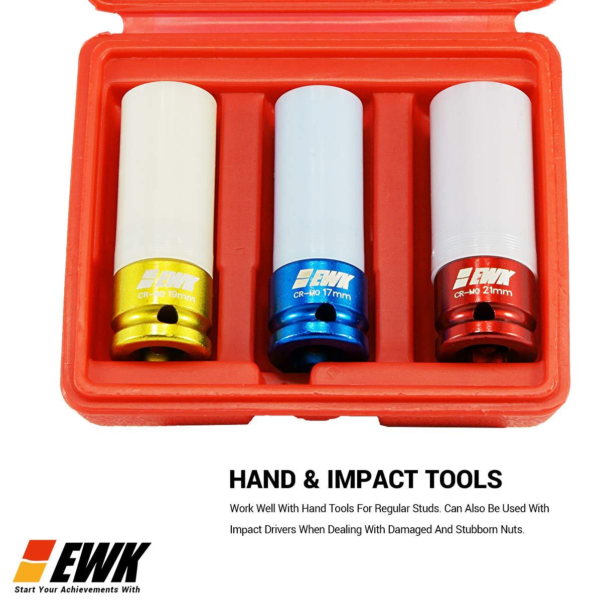EWK Lug Nut Socket Non Marring Thin Wall Deep Impact Sleeve Tire Wheel Protection 17 19 21 mm EB0022