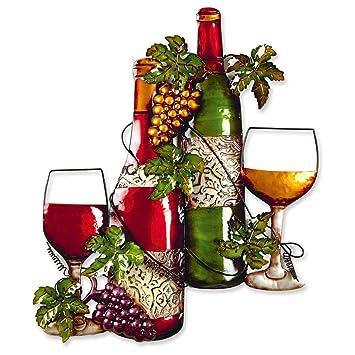 Metal Wine Bottle Garden Wall Art