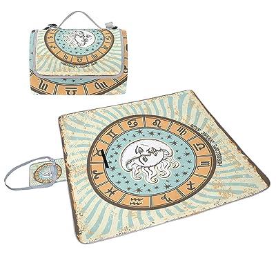 COOSUN tous les zodiaque Couverture de pique-nique Sac pratique Tapis résistant aux moisissures et étanche Tapis de camping pour les pique-niques, les plages, randonnée, Voyage, Rving et sorties