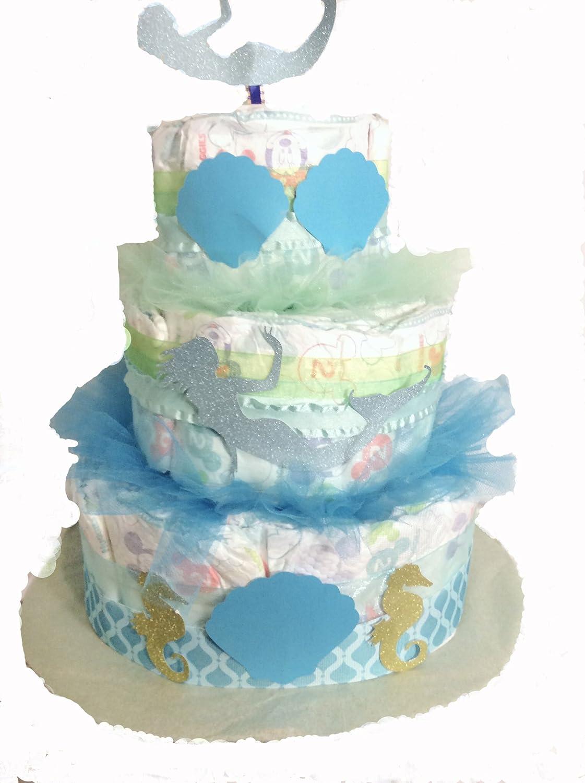 Blue and Green Mermaid Diaper Cake