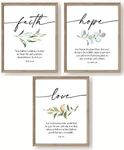 8x10 Faith Hope & Love Bible Verse Inspirational Prints - Set of 3 UNFRAMED - Christian Home Decor - Scripture Wall Art - Religious Gift for Women