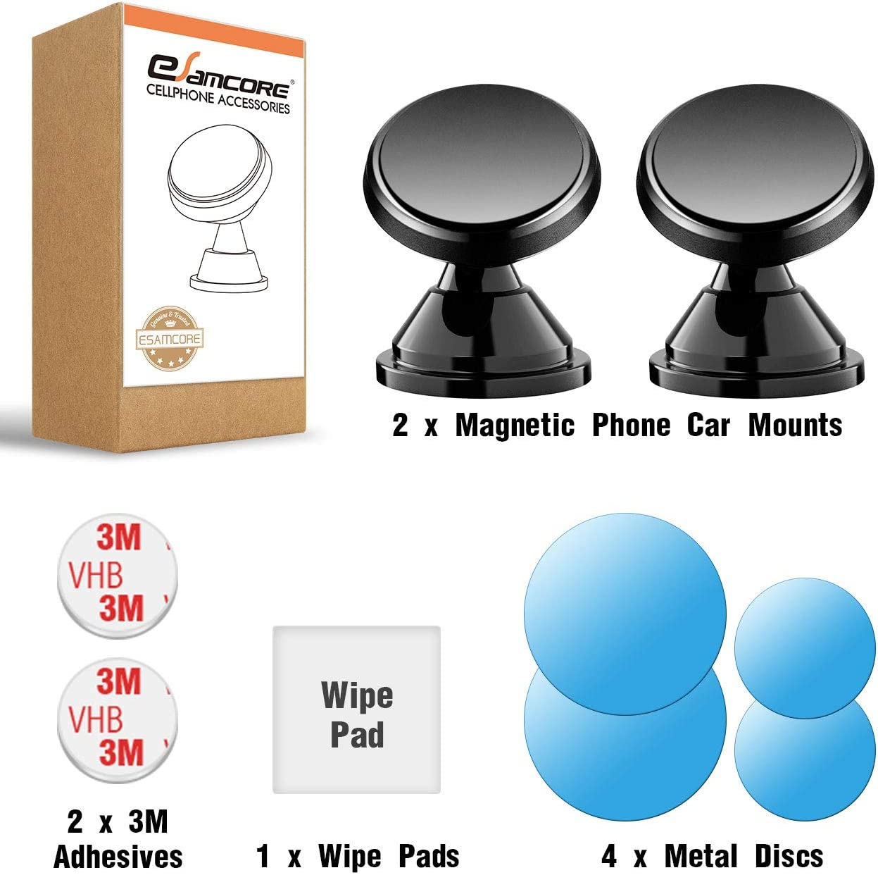 2-Pack CD eSamcore Phone Magnet Sticker for Magnetic Car Phone Mount Holder /& Cradle /& Stand for Windshield Dashboard 1.7 X 1.7 Inch Vent Wireless Charging Compatible Phone Metal Plate