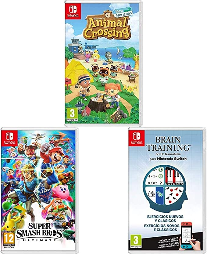 Animal Crossing: New Horizons + Super Smash Bros + Brain Training: Amazon.es: Videojuegos