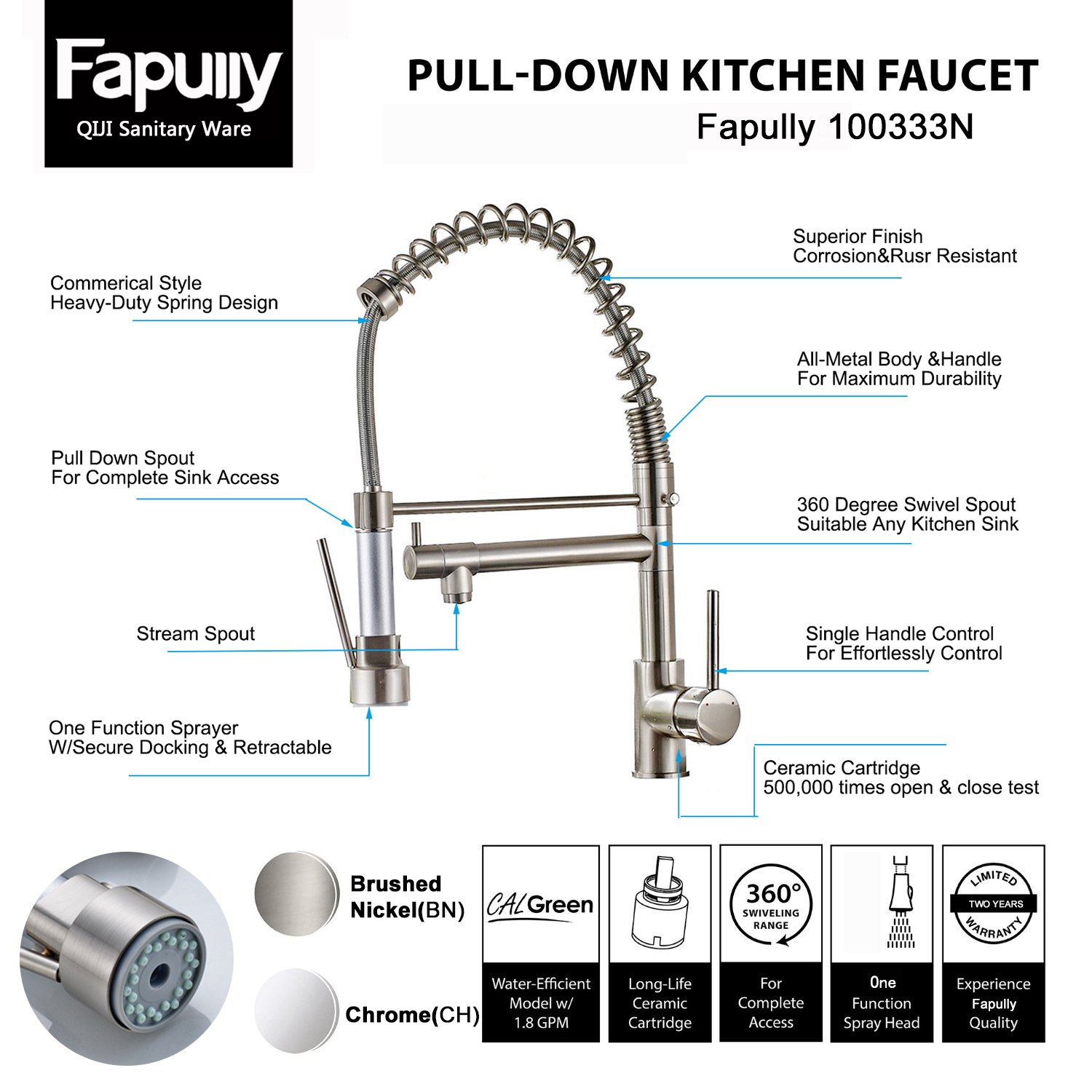 Fapully Contemporary Spring Single Handle Kitchen Sink Faucet with