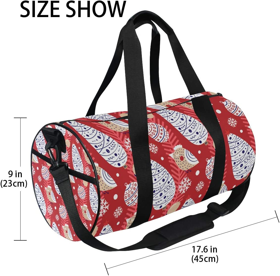 MALPLENA Christmas Tree Bird Inbetweening Drum gym duffel bag women Travel Bag
