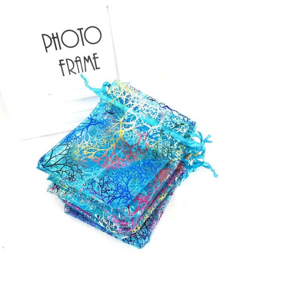sacchetti organza VORCOOL Buste Regalo Organza Bustina Confetti Blu 100/pezzi