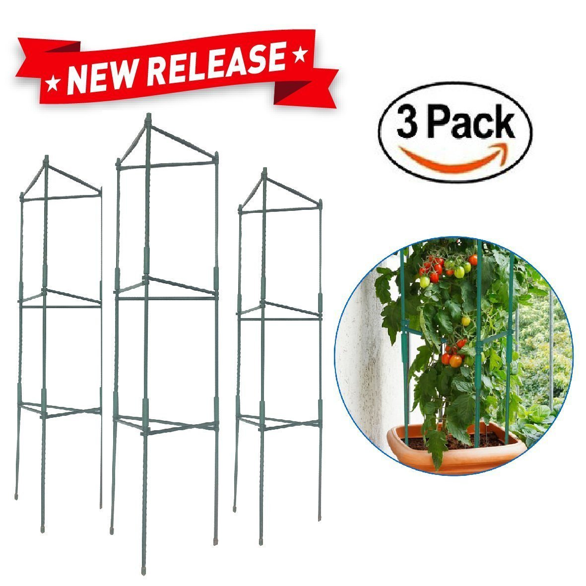EasyGO Products EGP-GARD-020 Cages – Stakes-Vegetable Trellis-3 Pack Tomato Plant
