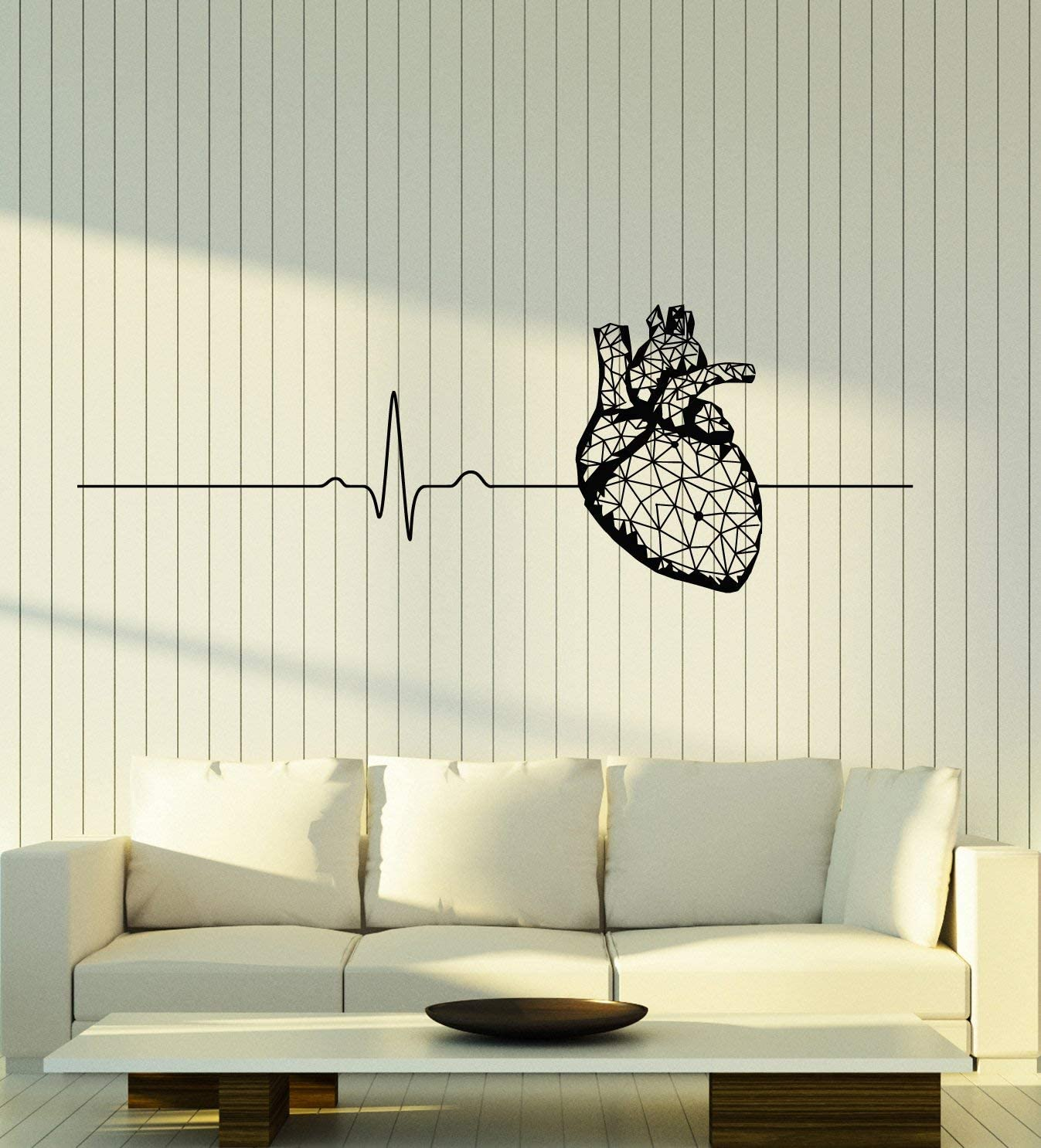 WallStickers4ever Vinyl Wall Decal Polygonal Heart Anatomy Health Medical Office Cardiogram Stickers Mural Large Decor (g1945) Black