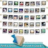 MW Photo & Artwork Display | 5 String | Self Adhesive Hanging Photo Display | Modular Hanging Artwork Display | Adjustable Display for Photos | Natural Wood | 10 Holders | 40 Clips