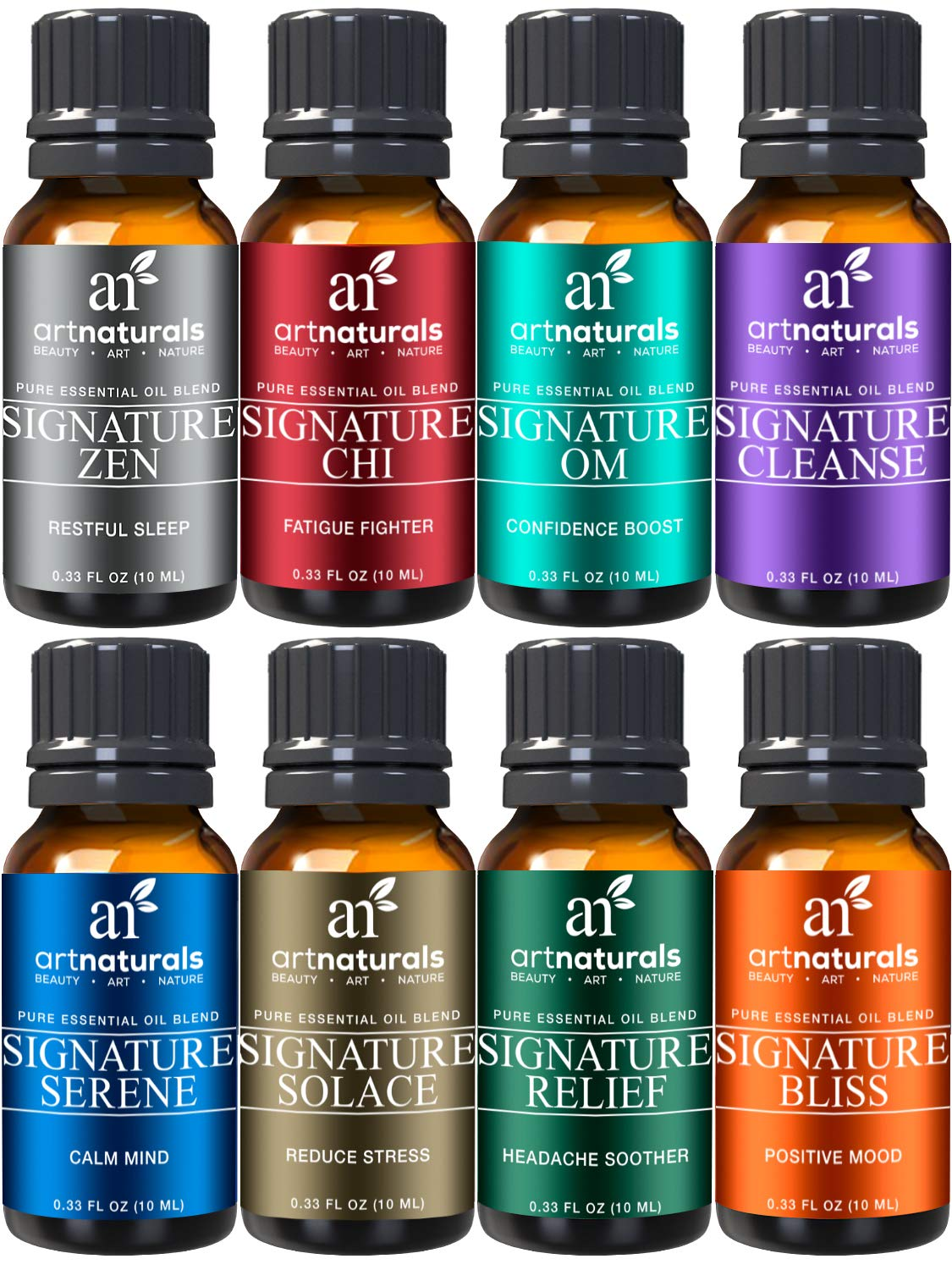 ArtNaturals Signature Blend Essential Oils Set - (8 x 10ml) - 100% Pure of The Highest Quality - Therapeutic Grade - Recommended Aromatherapy Gift Set by ArtNaturals