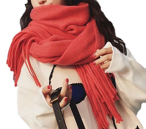 Otoño E Invierno Mujer Color Sólido Bufanda Chal Calor Engrosada Moda Casual Borla Bufanda,9-OneSize