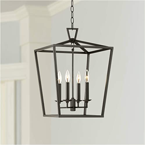 Coronado Oiled Bronze Foyer Pendant Chandelier 14″ Wide Open Frame Lantern 4-Light Fixture