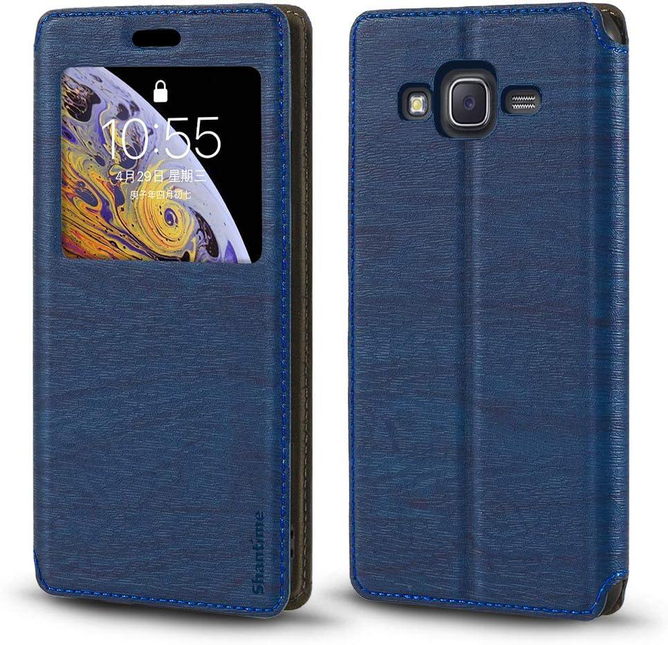 Funda Samsung Galaxy J5 2015 de piel de grano de madera con tarjetero y ventana, tapa magnética con tapa para Samsung Galaxy J5 2015 (azul)