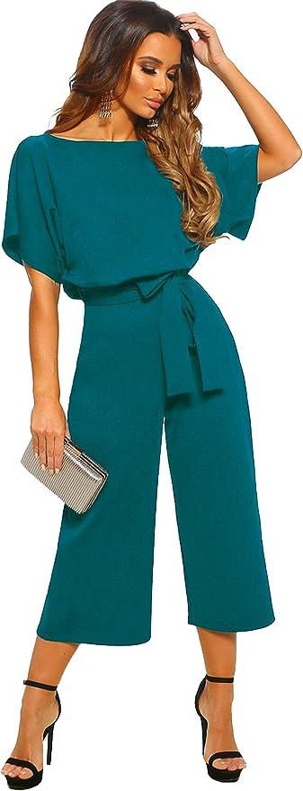 26 opinioni per Longwu Donna Elegante Tuta a Manica Corta a Vita Alta Pantaloni Larghi per Le