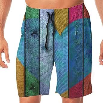 Amazon.com: RGG-Shorts Mens Beach Pants Heart Wood Shapes