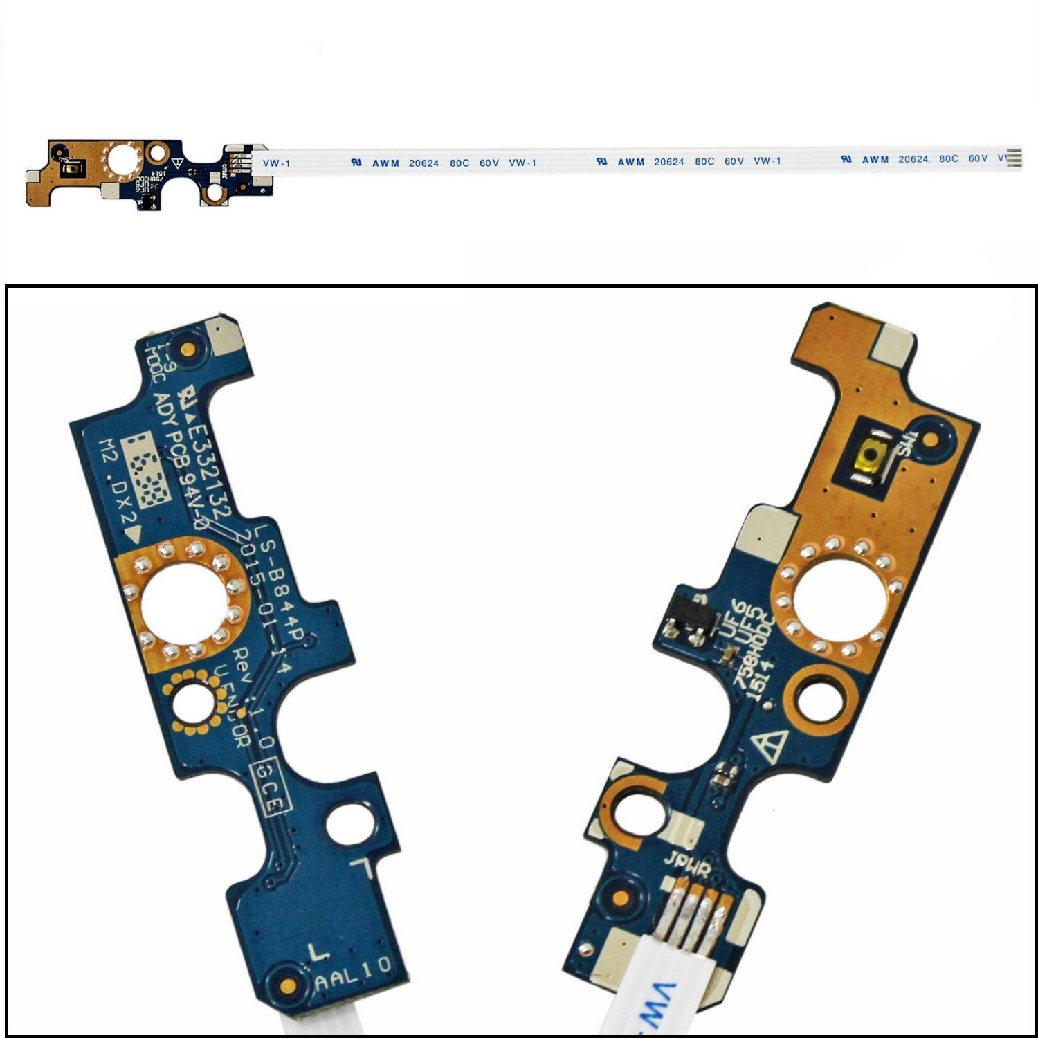 New Power Button Board With Cable LS-B844P For Dell Inspiron 15'' 3558 5551 5558 5555 5559 Dell Vostro 14'' 3458 94MFG CN-094MFG 094MFG P51F