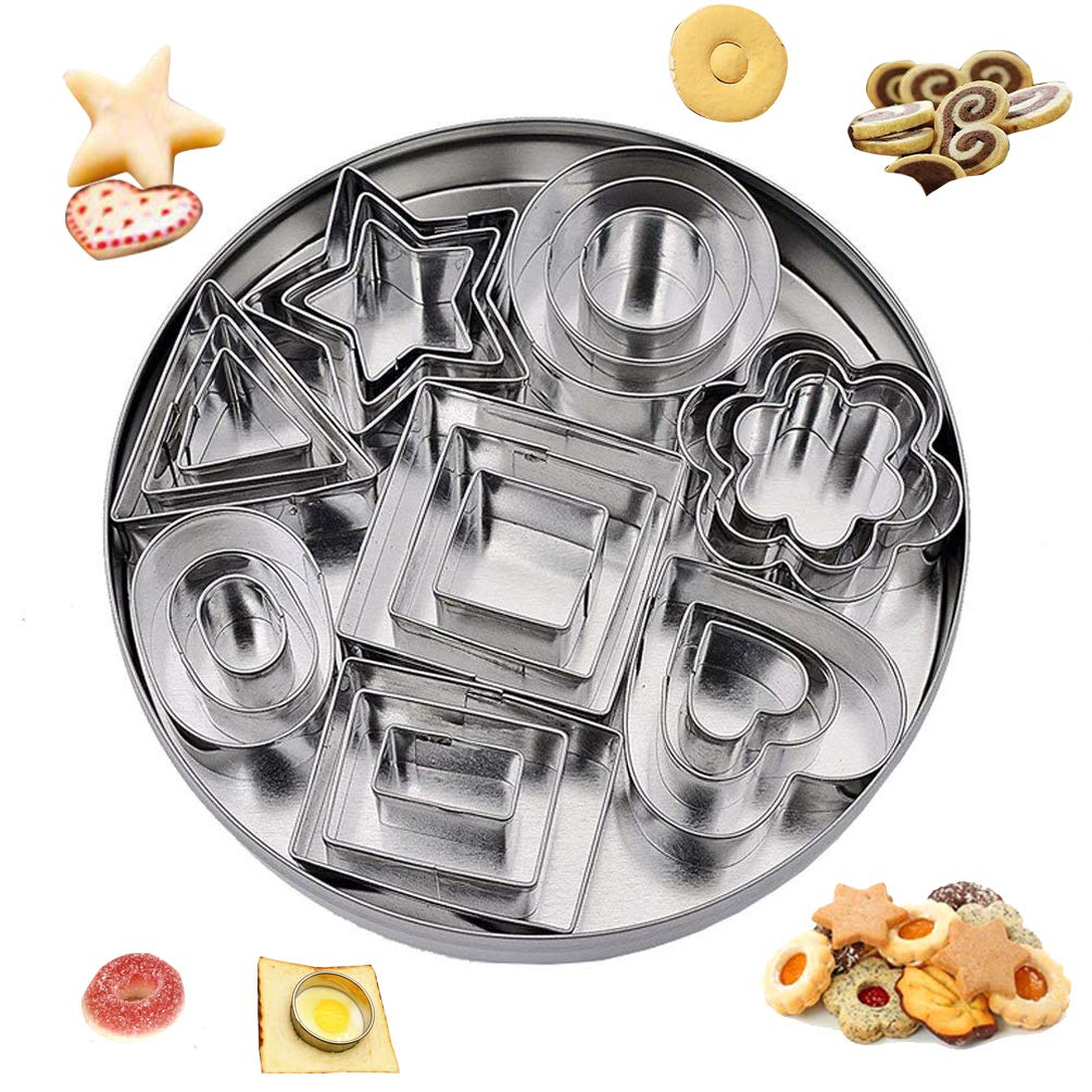 Cookie Biscuit Cutters Xmas Stainless Steel Geometric Hearts Flowers Stars Triangles Mini Cutters Baking Molding Cake Icing Sugarcraft Fondant Decoration Cookware Set of 24 FunMove