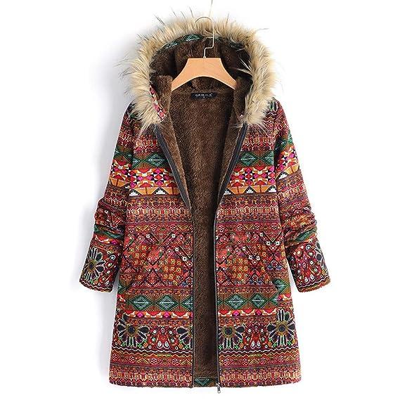 MEIbax Abrigos Mujer Invierno Womens Winter Warm Outwear con Estampado Floral Bolsillos con Capucha Abrigos de Gran tamaño de la Vendimia: Amazon.es: Ropa y ...