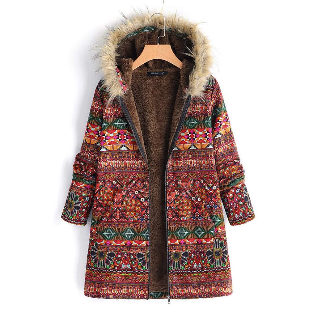 Cuekondy Women Vintage Floral Printed Coat Winter Warm Faux Fur Hooded Parka Jacket Boho Long Zipper Coats Outwear