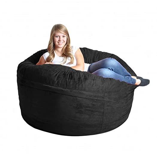 5 Black Foam Bean Bag Chair Like LoveSac Microsuede SLACKER Sack Love Microfiber