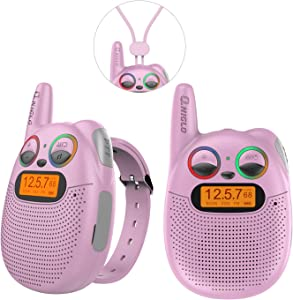 FRS Walkie Talkies with FM, Wearable & Rechargeable Walkie Talkies for Kids, up to 2 Miles Kids Walkie Talkies for Bicycle, Hiking, Camping, Running (Pink)