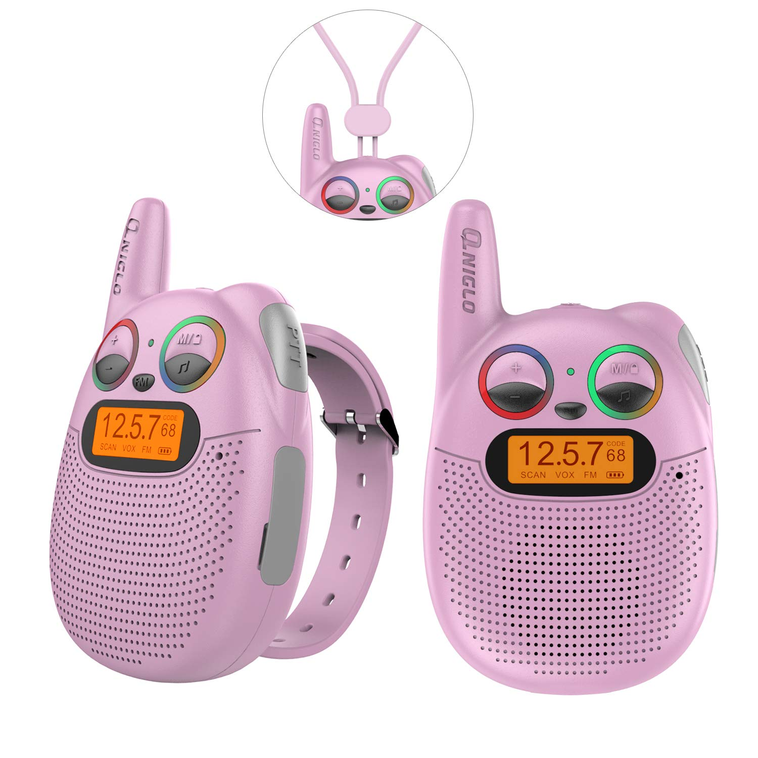 Qniglo FRS Walkie Talkies with FM, Wearable & Rechargeable Walkie Talkies for Kids, up to 2 Miles Kids Walkie Talkies for Bicycle, Hiking, Camping, Running (2 Packs, Pink) by Qniglo (Image #1)