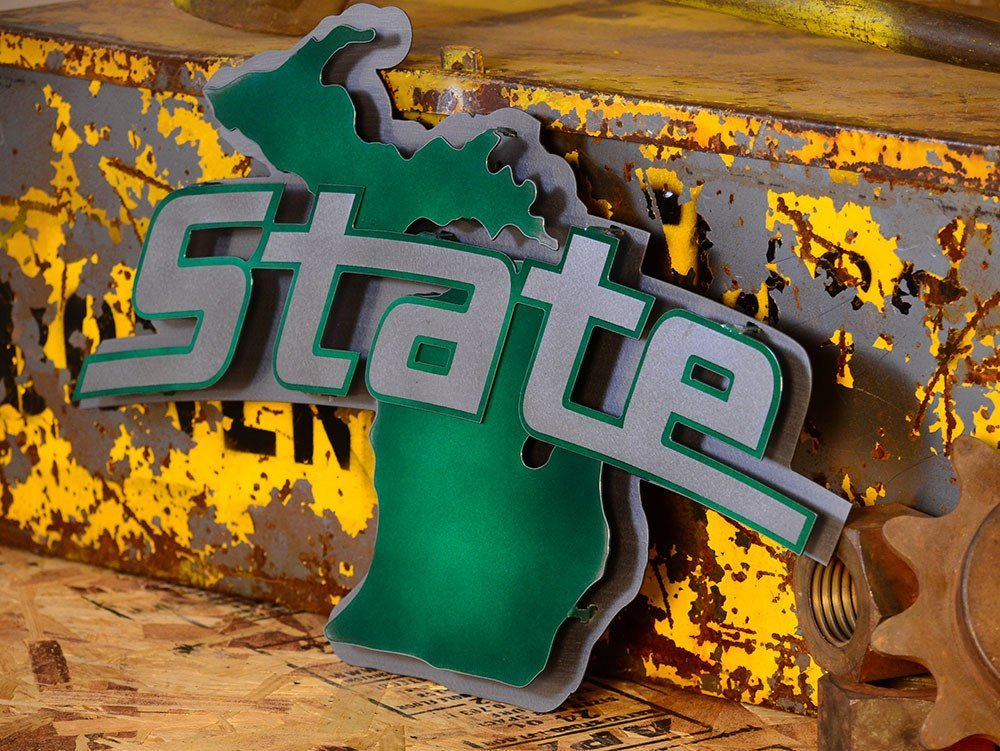 Gear New Michigan State University Logo 3D Vintage Metal College Man Cave Art, Large, Green/Silver