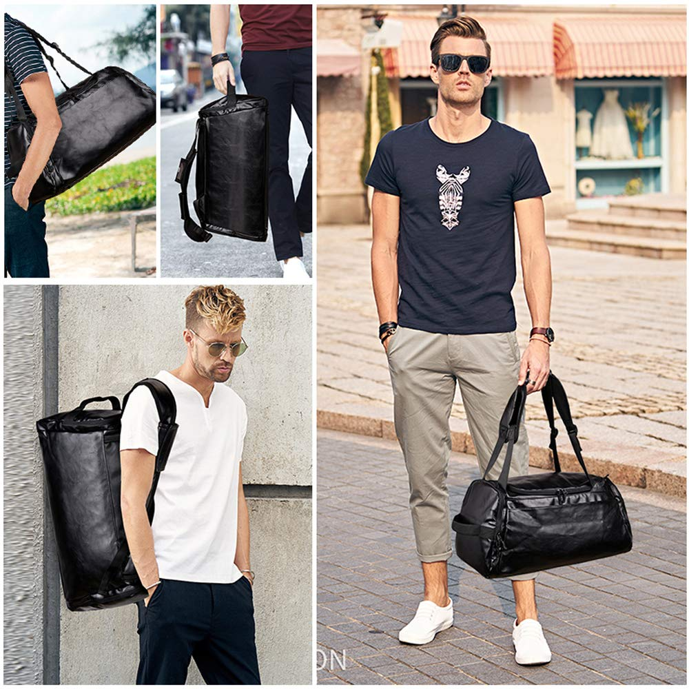 Leather Duffel Bag   Large Capacity Weekend Overnight Travel Gym Sport Luggage Tote for Men and Women – By (YOUR BRAND NAME) (vintage black)