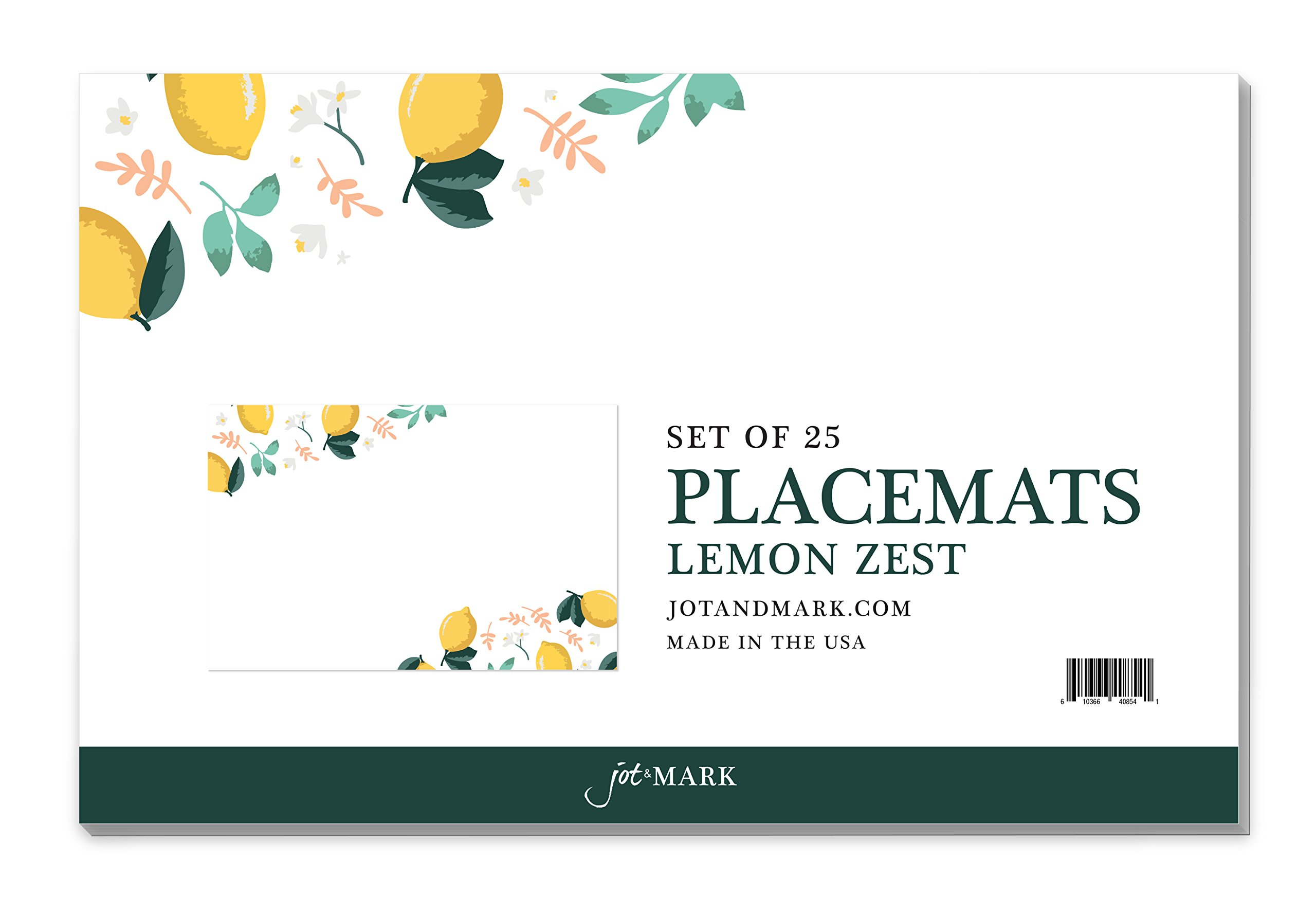 Jot & Mark Paper Place Mats Disposable Use for Dinner Parties, Banquets, Wedding Receptions, and Everyday Home Decor, Set of 25 (Lemon Zest)