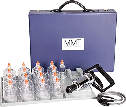 MMT 17 Cup Plastic Professional Cupping Therapy Set w/Pump Gun and Extension Tube