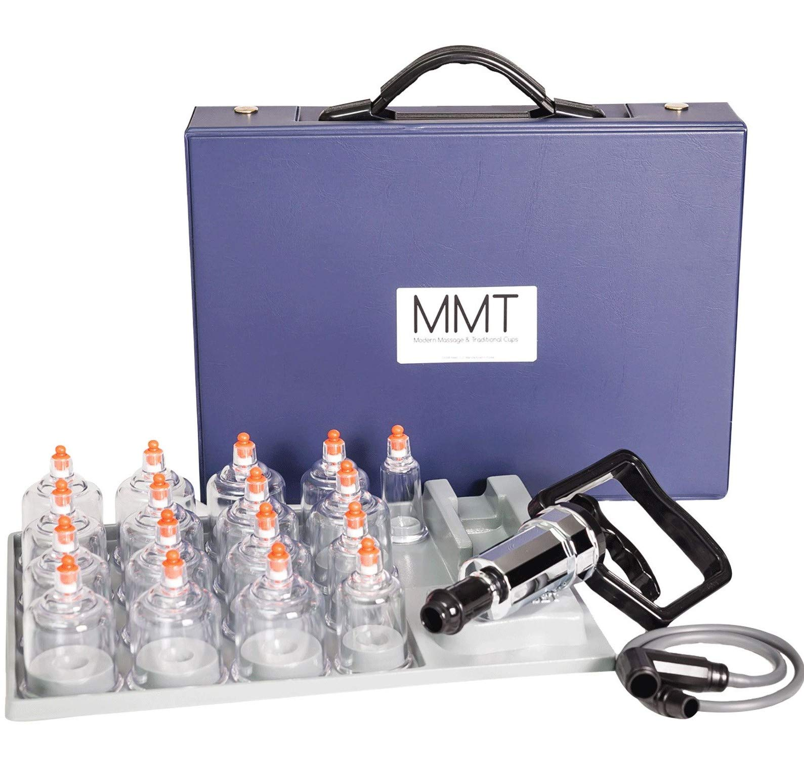 MMT 17 Cup Plastic Professional Cupping Therapy Set w/Pump Gun and Extension Tube by MMT