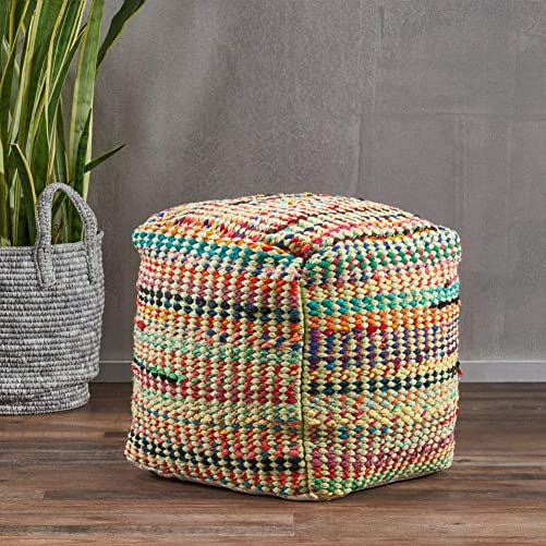 Christopher Knight Home Madrid Fabric Pouf, Sage