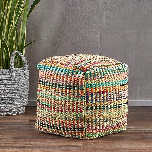Marcela Hand Woven Fabric Pouf Sage