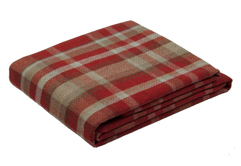 McAlister Textiles Heritage Throw | Terracotta Orange Tartan Check Plaid Wool Feel, Sofa + Bed Blanket | 200 x 254cm