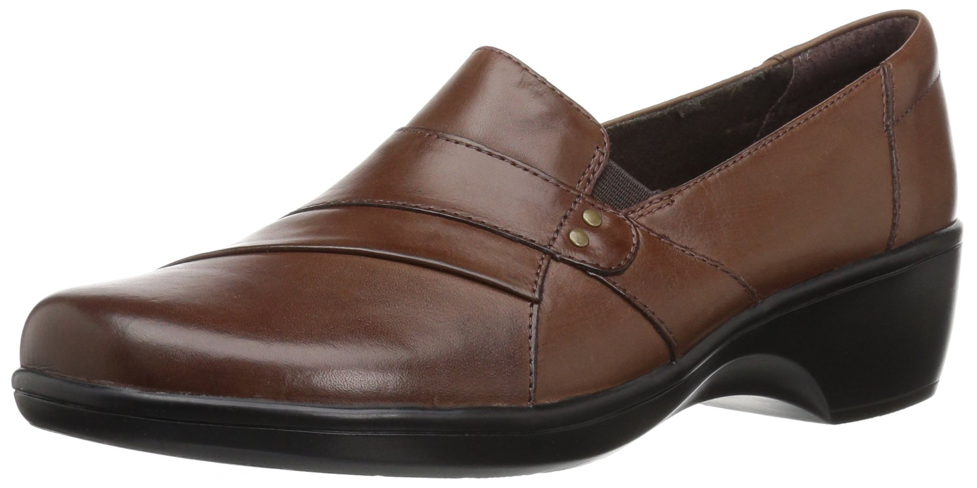CLARKS Women's May Marigold Slip-on Loafer, Brown Smooth, 7.5 M US