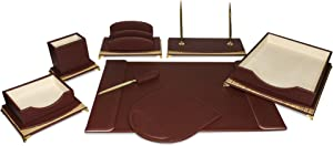 Majestic Goods Organizer, Executive Office Desk Organizer, Burgundy and Gold (W1064)